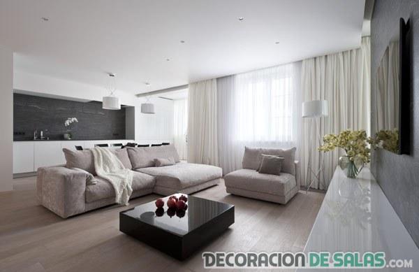 salón blanco con detalles en negro