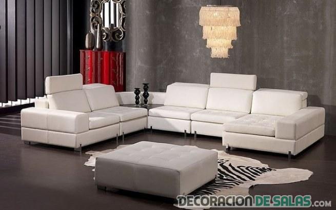 salón blanco en forma de L