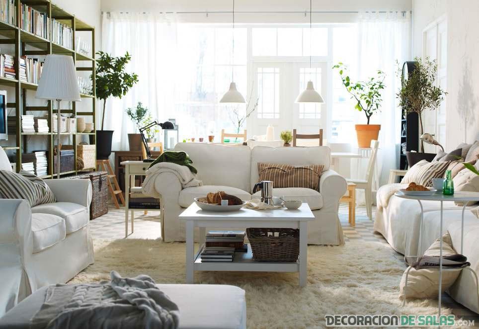 salón blanco nórdico con plantas