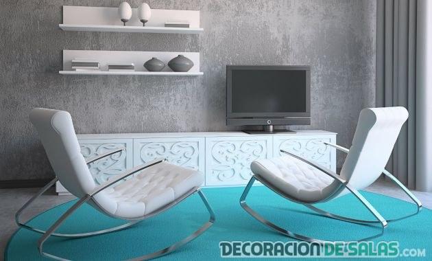 salón blanco y azul sencillo