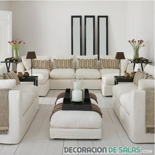 salón blanco y beige