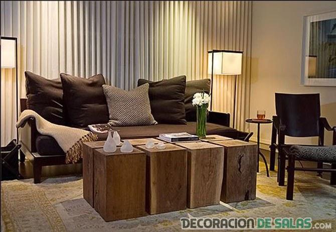 salón cálido en marrón