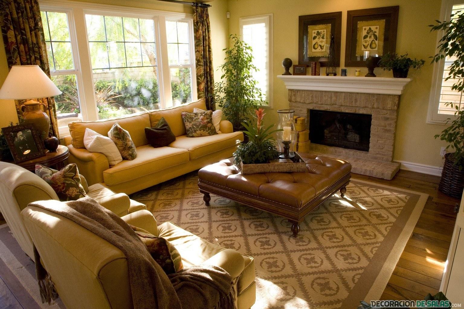 salón clásico en tonos marrones