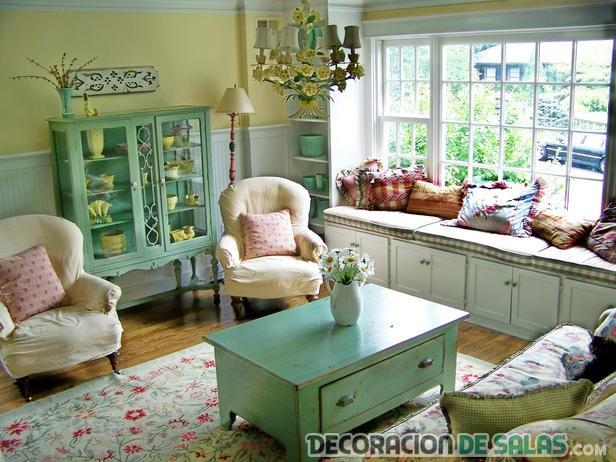 salón color azul vintage
