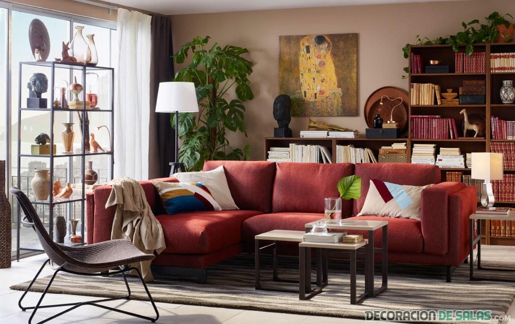 salón color granate ikea