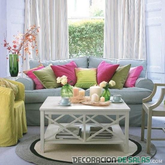 salón combinado en colores pastel