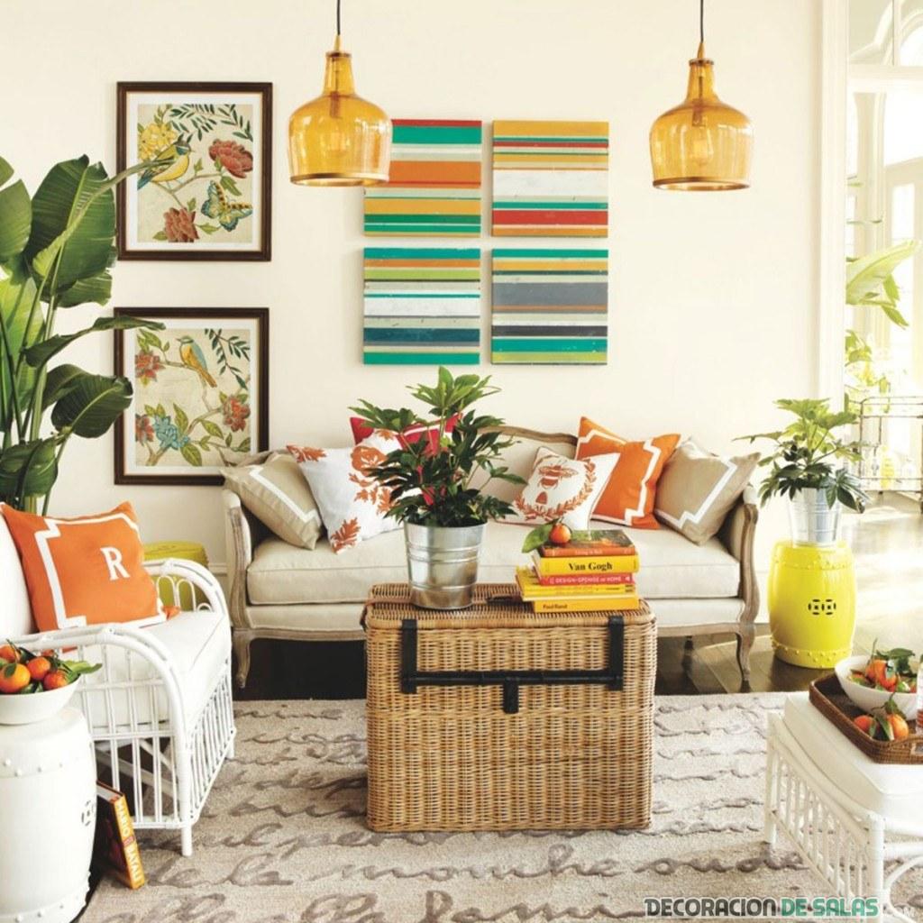 salón combinado en colores veraniegos