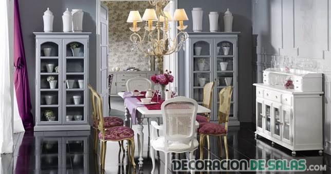 salón comedor con muebles vintage