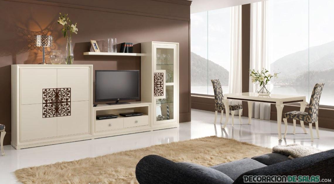 salón comedor moderno y elegante en blanco
