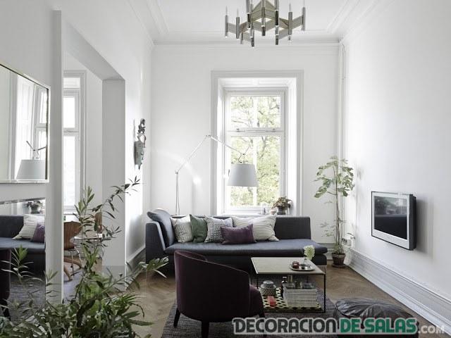 salón con colores suaves grisáceos