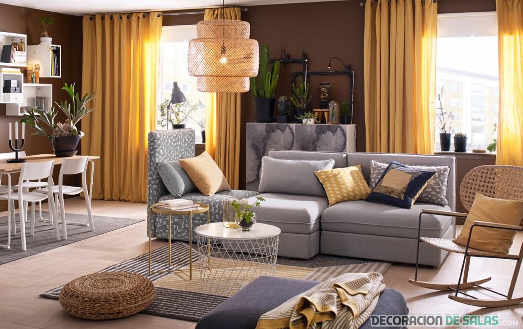 salón con colores tostados ikea