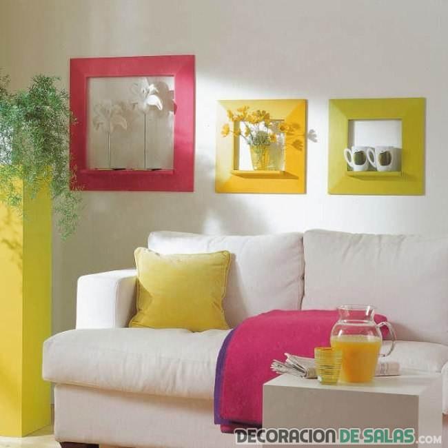 salón con decoración en color flúor