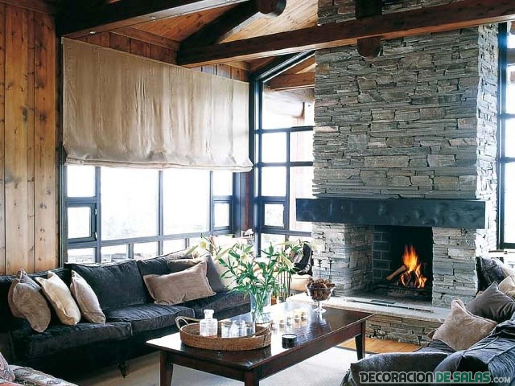 salón con decoración rústica en gris