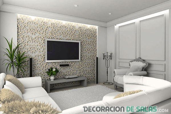 salón con detalle decorativo en pared