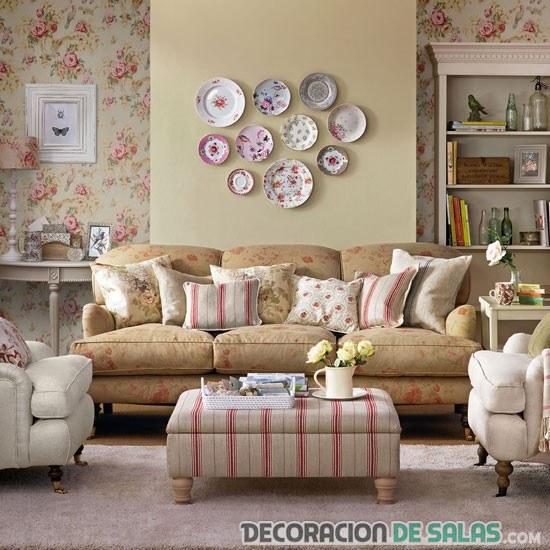 salón con estampados vintage