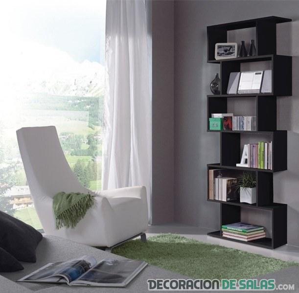 salón con estantería vertical
