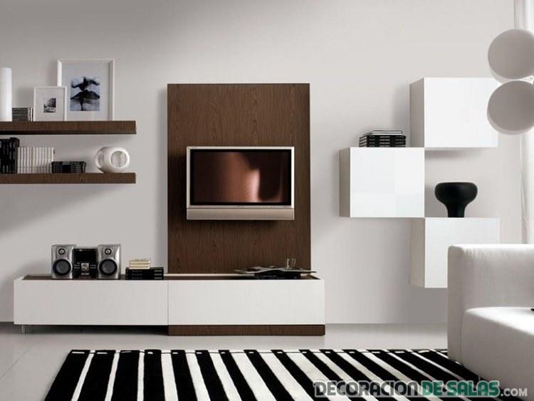 salón con mueble modular en marrón