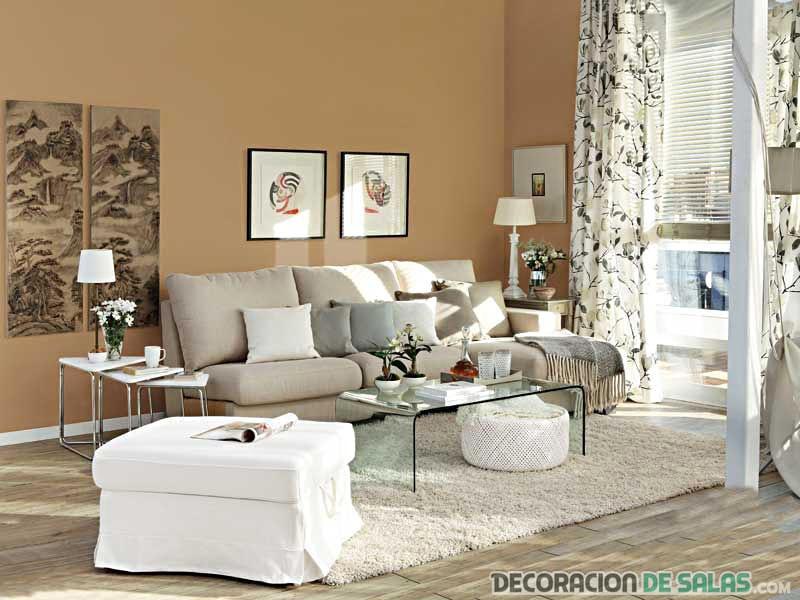 salón con pared color tostada