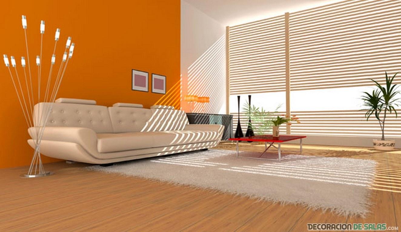 salón con paredes en color naranja
