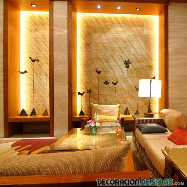 salón con paredes iluminadas