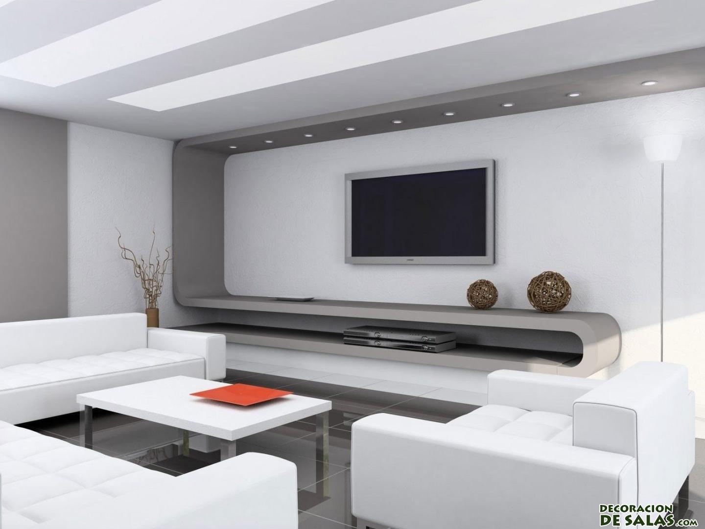 salón con sofás en blanco minimalista