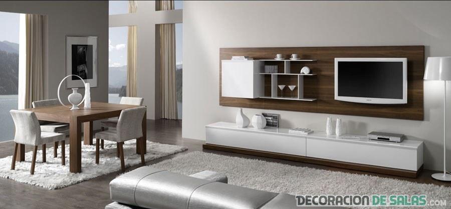 salón contemporáneo en marrón y blanco