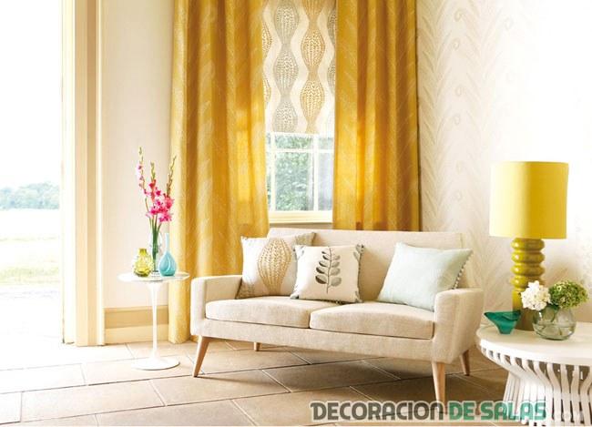 salón cortinas amarillo