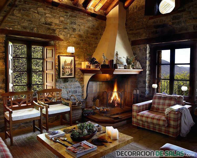 salón de estilo country con paredes de piedra