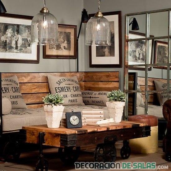 salón de madera estilo rústico
