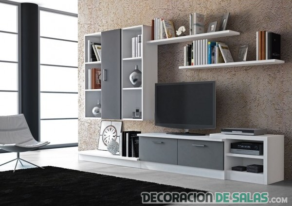 salon decoracion blanco y humo