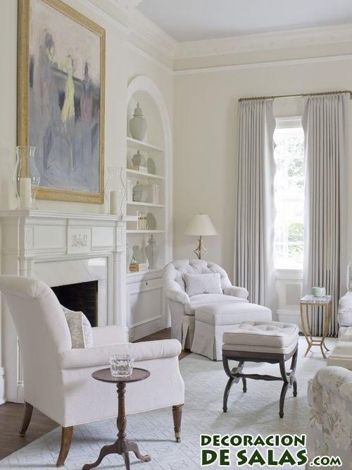 Salón decorado en color blanco