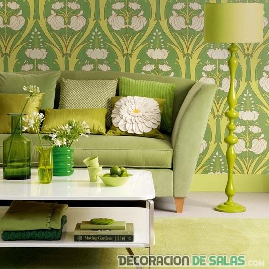 salón decorado en verde monocromático