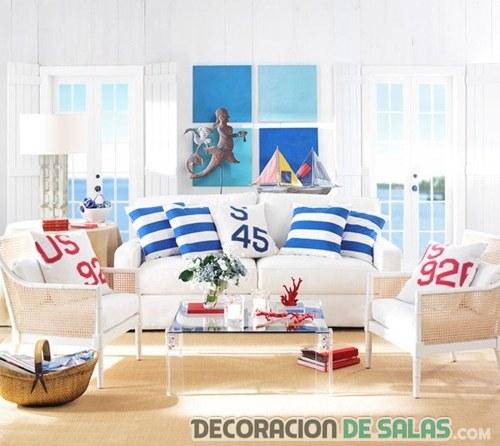 salón decorado playero en azul y rojo