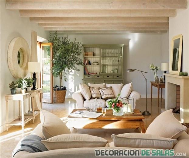 salón delicado y neutro moderno
