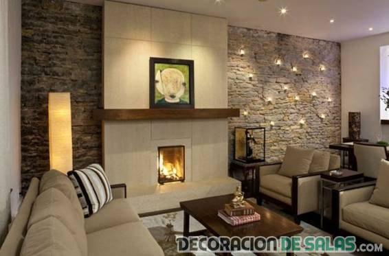 salón elegante con paredes de piedra