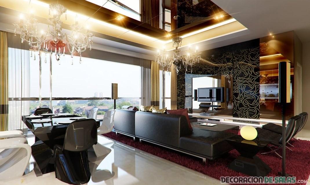 salón elegante con sillas en negro