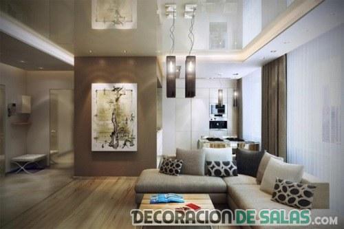 salón elegante con sofá en L
