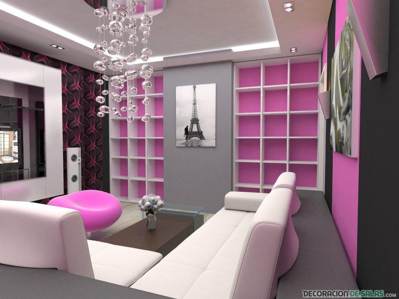 salón elegante y en color rosa
