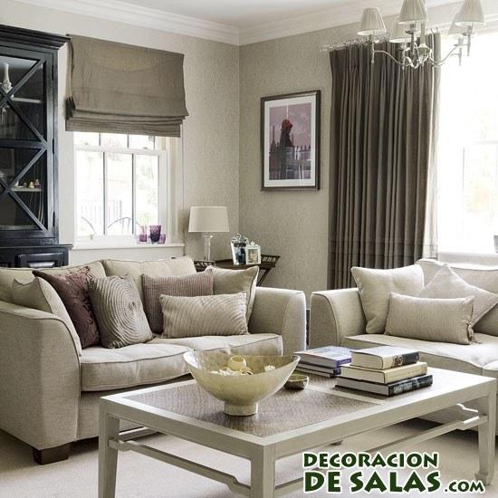 salón en colores grisáceos