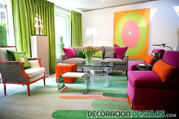 salón en colores neón