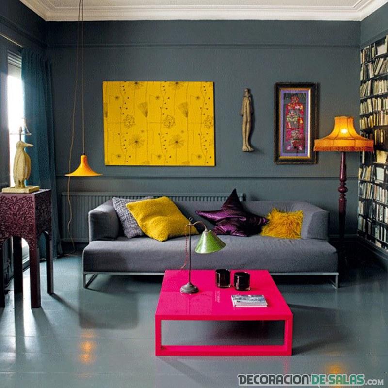 salón en gris con colores neón