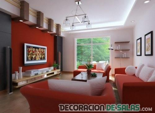 salón en rojo con sofás
