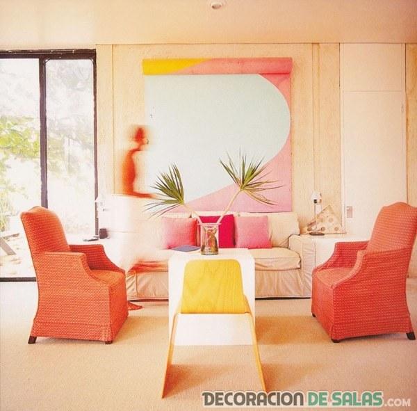 salón en rosa, coral y amarillo