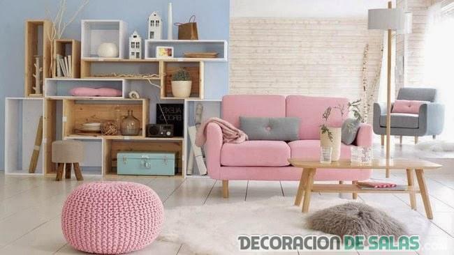salon en rosa y gris