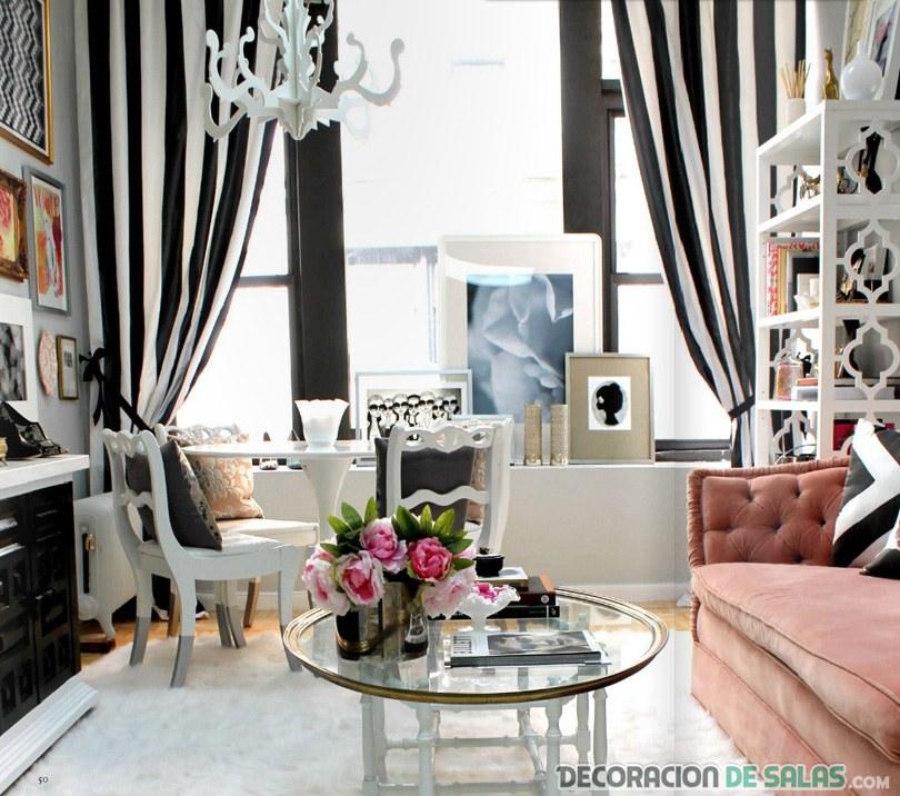 salón glam con cortinas originales