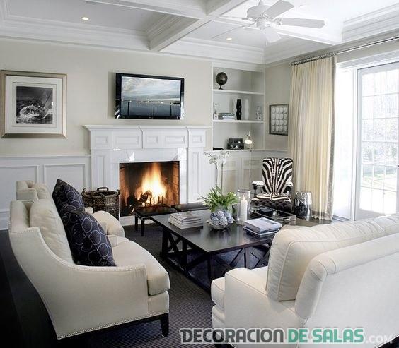 salón grande con dos sofás en blanco