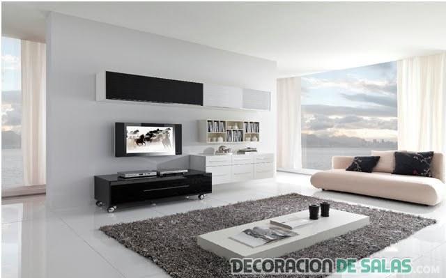 salón grande en color blanco y moderno