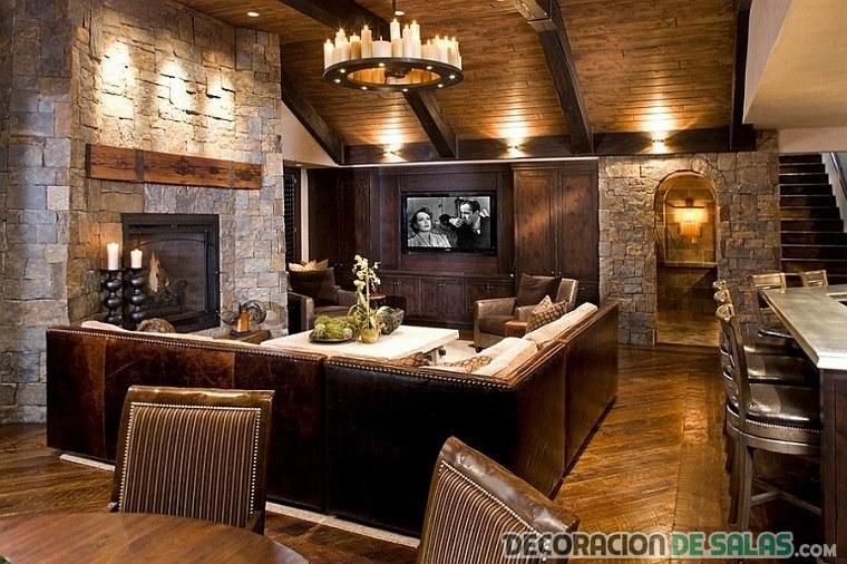 salón grande rústico clásico