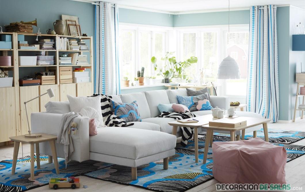 salón ikea en color azul