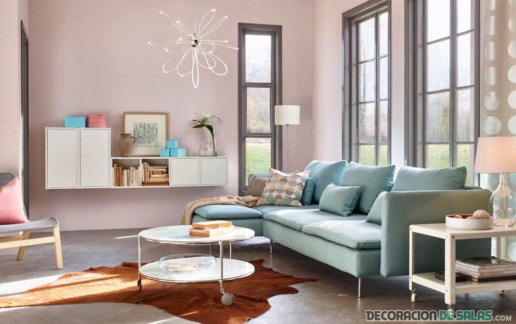 salon ikea muebles pastel